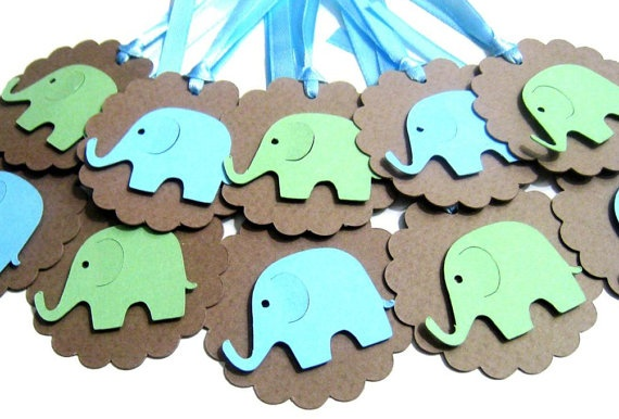 Baby Shower Tags Baby Elephant Set of 10 Gift Favor by pinkdotsetc, €2.80