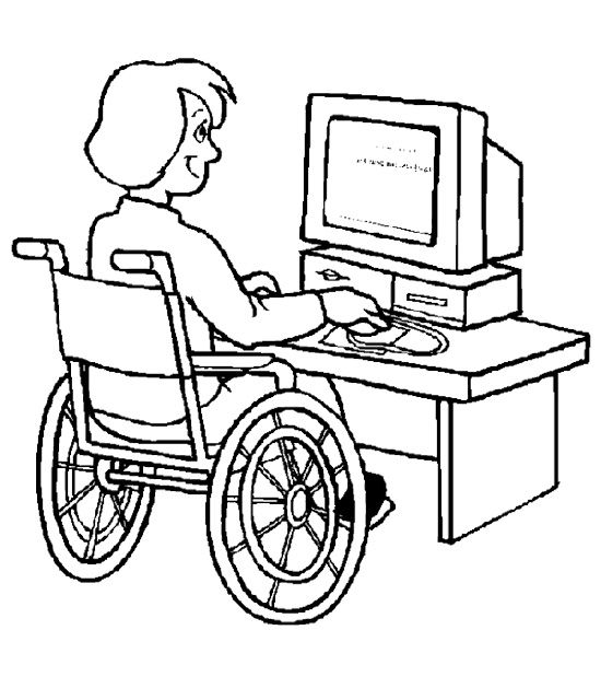 The Girl Disabilities Using a Computer Coloring Page