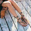 Caramel Leather Stitched Ribbon Sandals