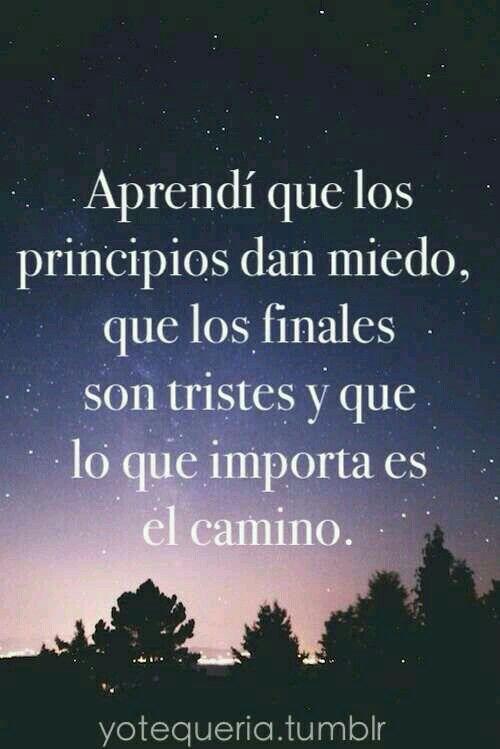 Aprendí que los principios dan miedo, que los finales don tristes y que lo que importa es el camino.