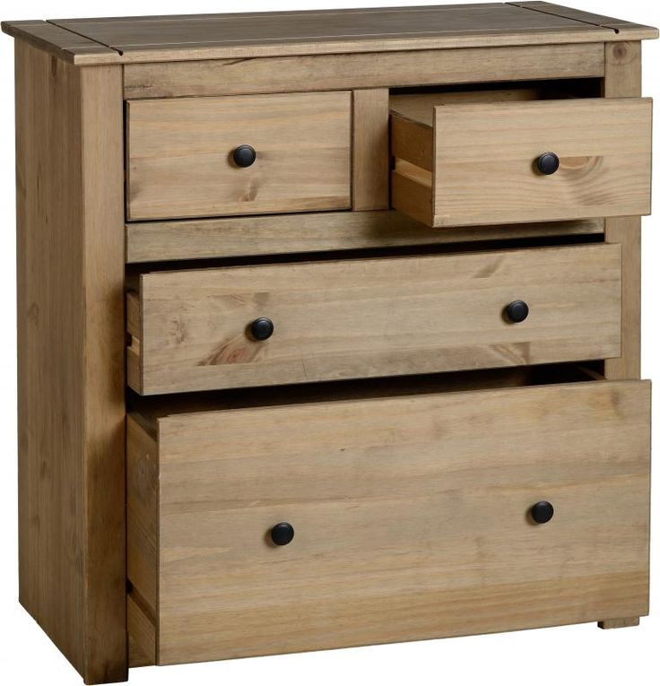 Panama 2+2 Drawer Chest in Natural Wax #Chestdrawersets #Chestsets
