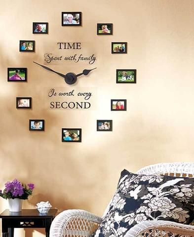 DIY Family Photo Wall Clock  With 12 Photo Frames
