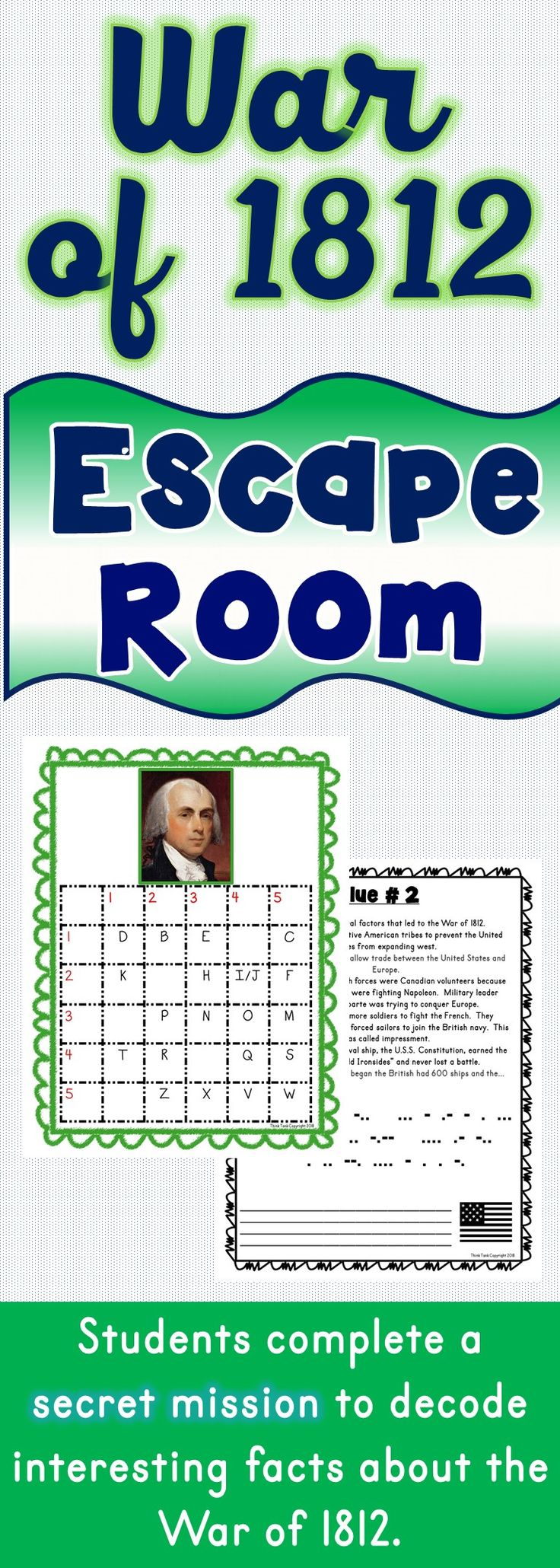 The War of 1812 Escape Room will take students on a secret mission around the classroom! This escape room has students decode interesting facts about the War of 1812. The War of 1812 Escape Room has students walking around the classroom breaking codes.