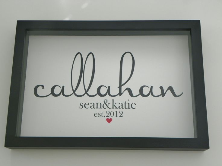 Personalized Family Name Framed Print Sign Art- Wedding Engagement Great Gift Wedding Anniversary Housewarming Gift. $89.00, via Etsy.