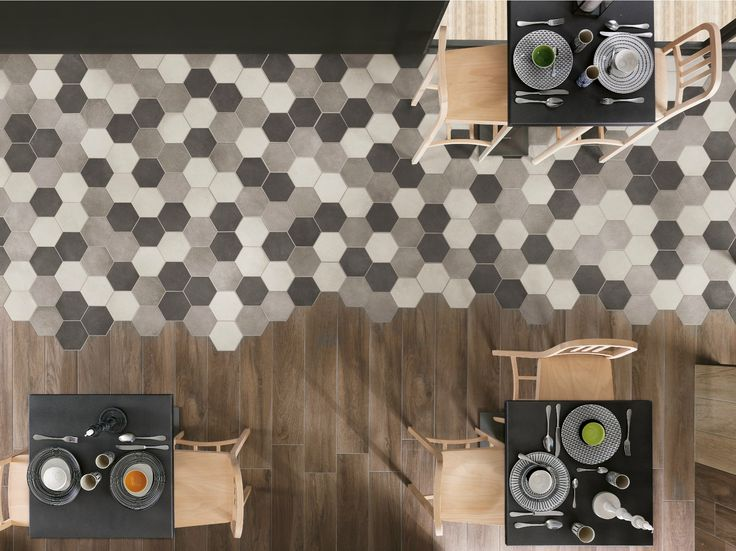 Beautiful example of using hexagonal tiles; neutral palette Rewind collection by Ragno