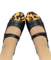Leopard Dip - Womens black leopard print smooth leather-textured mary jane flats shoes