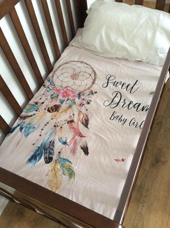 Boho Dreaming Cot blanket Boho Dream catcher front with sweet dreams baby girl quote and dusty pink fleece backing Our cot blankets are made with a cotton front and a super soft fleece backing. Perfect size for in the cot or as a pram blanket or even on the floor as a play mat.