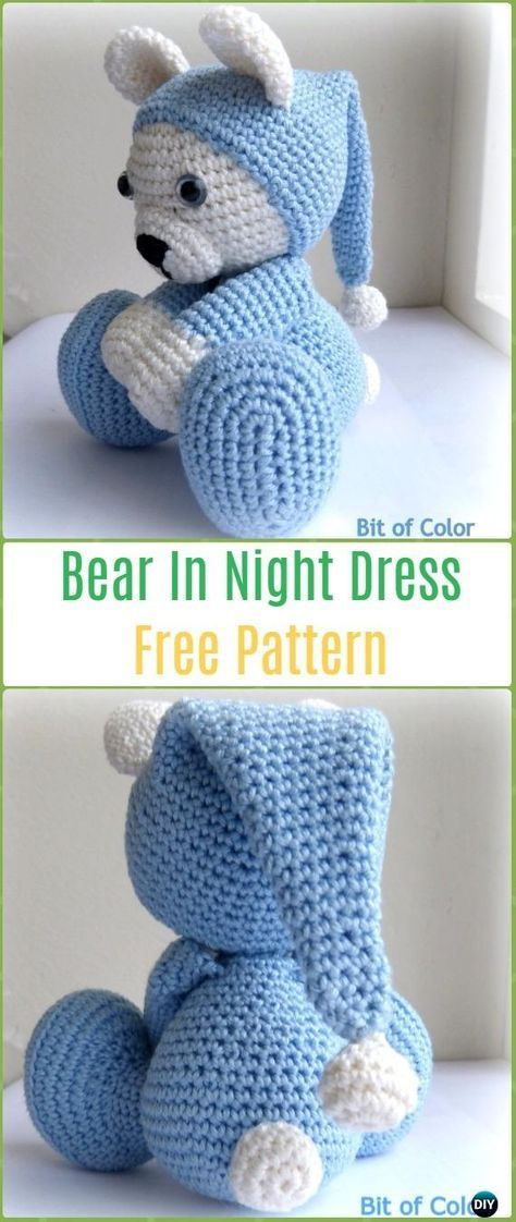 Amigurumi Crochet Bear in Nightdress Free Pattern - Amigurumi Crochet Teddy Bear Toys Free Patterns