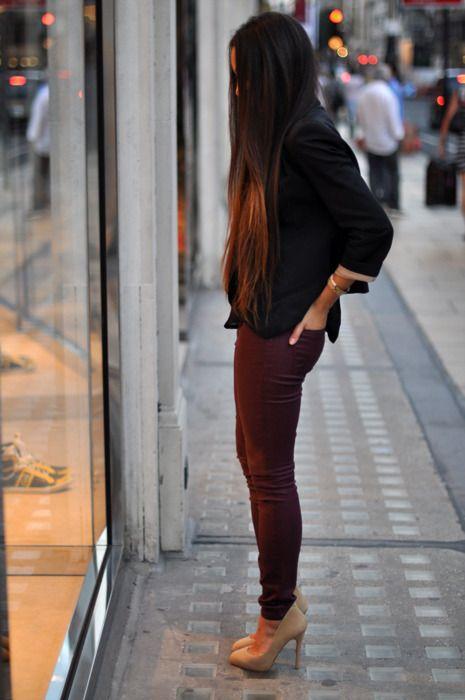 maroon pants and nude heels
