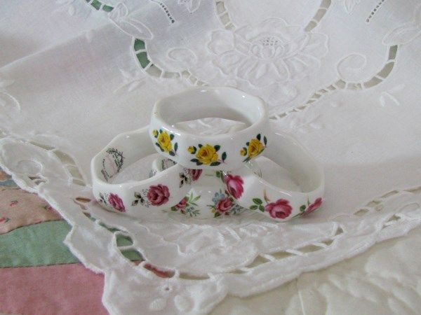 Sandford Napkin Rings  A set of lovely English fine bone china napkin rings - great for mix n' match!
