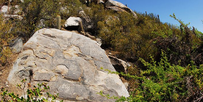 VALLE DE CHALINGA: HOGAR DE COMUNIDADES PREHISPÁNICAS Frontera cultural que combinó las influencias del Molle y Llolleo, donde se han encontrado petroglifos y cerámicas.  Valle de Chalinga, región de Coquimbo
