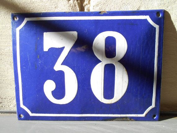 Large French street number vintage enamel street by Birdycoconut