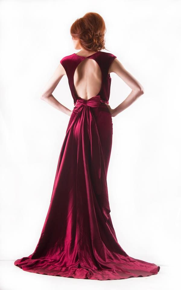 Velvet Back Bow evening dress