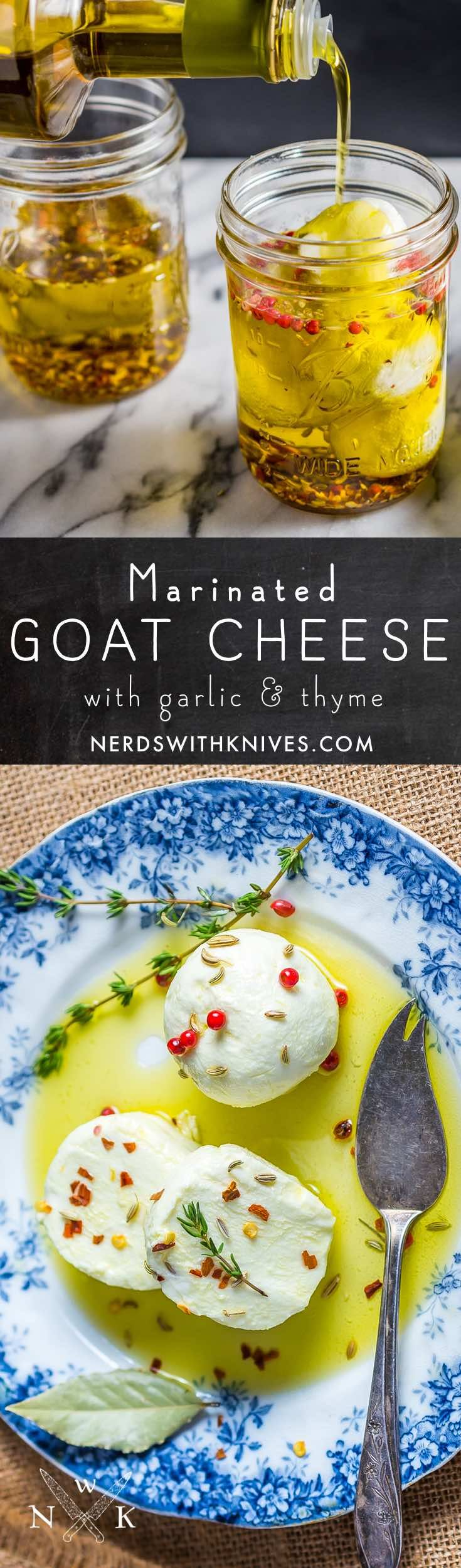 Marinated fresh goat cheese in olive oil with herbs and spices is almost effortless but incredibly delicious. Use it as a topping for crackers, a spread for sandwiches, or crumbled into salads.