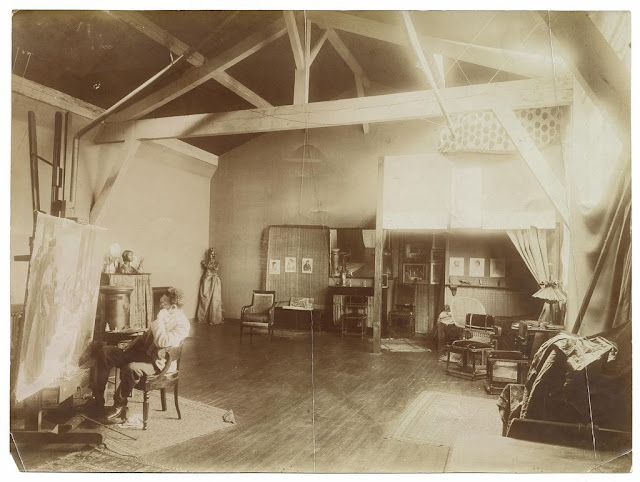 I am captivated by this haunting image of artist Henry Ossawa Tanner in his studio (above)at 51rue Saint-Jacques in Paris, circa 1900.