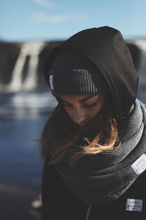 lkaros:  Infinity Scarf over black jacket #snowboard #style #girl