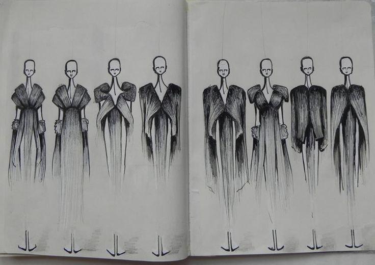 Fashion Sketchbook - fashion design drawings, collection development - lineup; fashion sketches; fashion portfolio // Student work, CSM