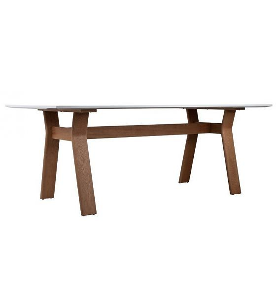 Zuiver Tafel hout naturel/bruin/wit 200x90x76 cm, TABLE HIGH ON WOOD - wonenmetlef.nl