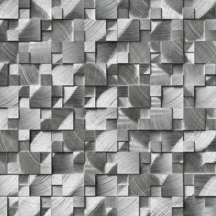 Smot Met Slval Silver Aluminum Metal 3d Pattern Mosaic Mosaic Wall Tiles Metal Mosaic Tiles Metallic Wall Tiles
