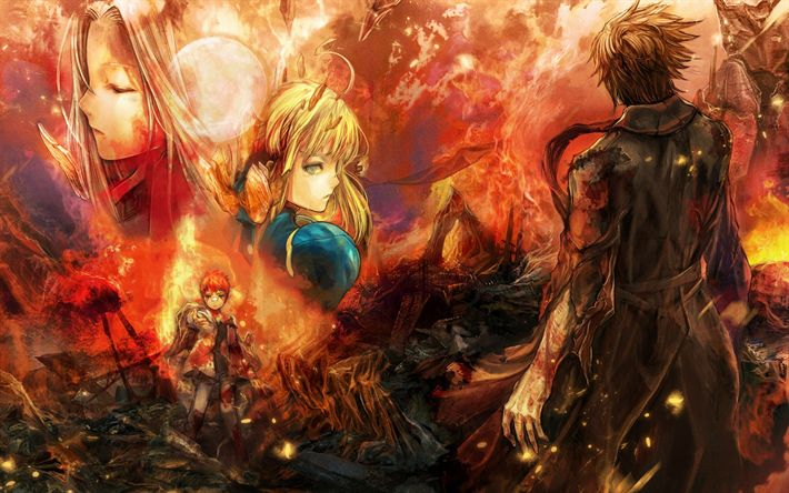 Descargar fondos de pantalla Syosetsuka ni Narou, Japonesa, el manga, los personajes, la luz de la novela, el fuego, la llama