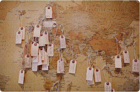 Alternative Guest Book Idea Map and Tags- perfect if in my colors!