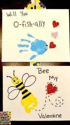 Valentines Day Hand and Footprints ~ will you O-fish-ally Bee my Valentine