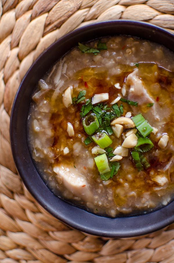 Make savoury rice porridge in the crockpot with this recipe for slow cooker brown rice chicken congee loaded with fresh ginger.
