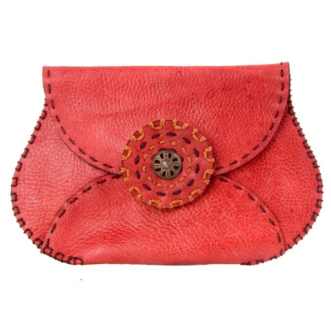 Crimson Purse. 100% Calf leather. Original design. Hand stitched. 100% da bò non, thiết kế độc quyền, khâu bằng tay. $35