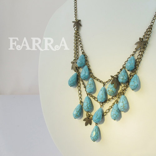 loose form necklace by FARRAgem at Etsy: Turquoise Necklace