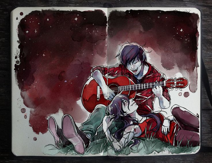Vampire Song by Gabriel Picolo.  Marceline and Marshall Lee from Adventure Time fanart.