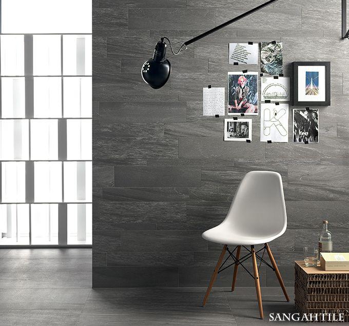 Tile - PIETRA VALMALENCO 45x90 / by COEM 타일에서 보이는 하얀선들이 은은하게 이어져 자연스러움을 주며 실제 돌과는 다르게 살짝 매트하게 만들어진 제품입니다.  #tile #sangahtile #italy #coem #stone #stonetile #wall #chair #frame #grey #타일 #상아타일 #이태리타일 #아트월 #벽타일 #의자 #액자 #거실벽