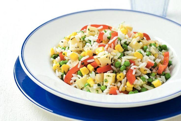 Kijk wat een lekker recept ik heb gevonden op Allerhande! Rijstsalade met mais en kaas