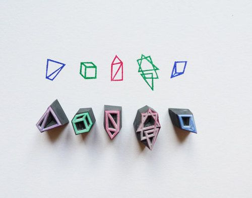 handcarved geometric stamps from This Is Just To Say by ttyr http://www.etsy.com/shop/ttyr