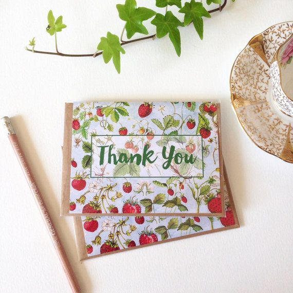 Thank You Note Card  A2  Watercolour by strawberrysnail on Etsy