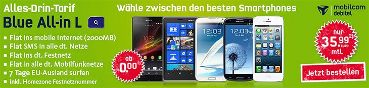 o2 Blue All-in L - Allnet Flat + Smartphones ab 0,- EUR Anzahlung http://www.simdealz.de/o2/o2-blue-all-in-l-allnet-flat-powernutze/