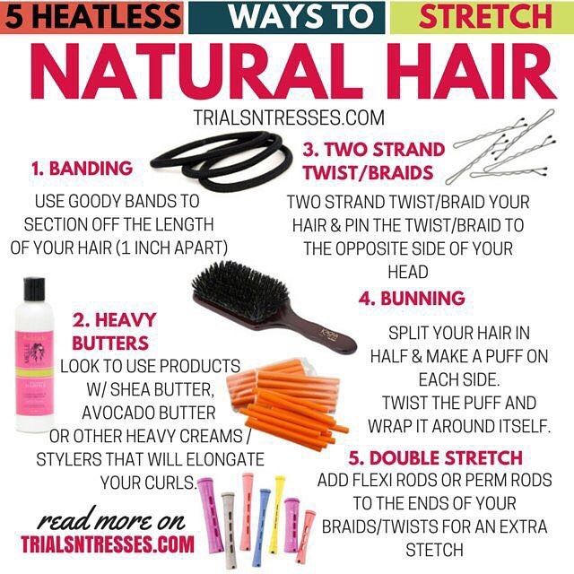 An oldie but a goodie! Good #naturalhair advice never goes out of style ! #ontheblog were talking 5 heatless ways to stretch your natural hair (direct link in the bio)  #naturalhair #trialsntresses #heatless #heatfree #teamnatural #infographic #bantuknots #permrods