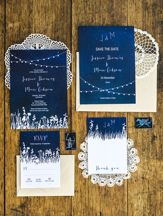 DIY Under The Stars Garden Lights Wedding Invitation Printable Set of 4. I love these invitations!