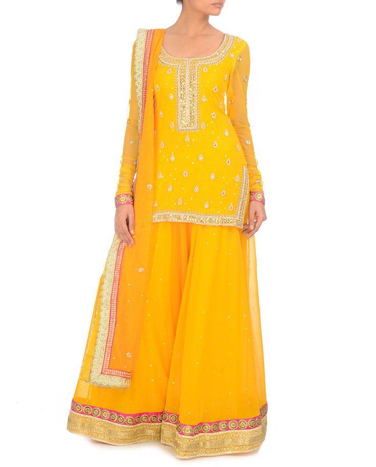 BHUMIKA GROVER Poppy Yellow Sharara Suit with Embellished Dupatta