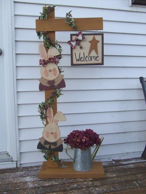 Free Primitive Wood Patterns | Pattern Packet Digital , Wood , Primitive Bunny Post , 50 Inches Tall