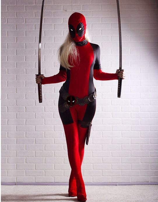 $84.99 - Now $61.99 Deadpool Costume - Female This full body spandex costume is packed with fierce and sexy for our female Deadpool fans this Halloween. Order Now and get Free Shipping! Use the measur
