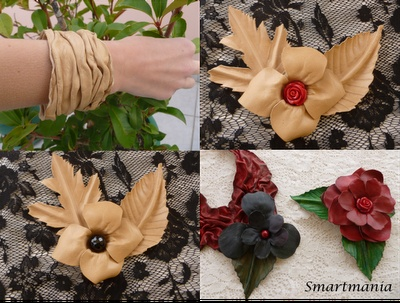 Jewels from oak leather