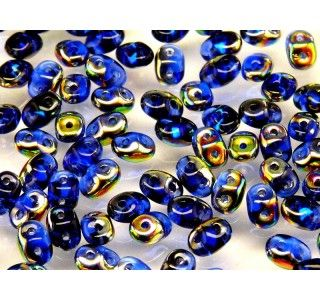 20gr Czech Two-Hole Seed Beads SuperDuo 2.5x5mm SAPPHIRE VITRAIL