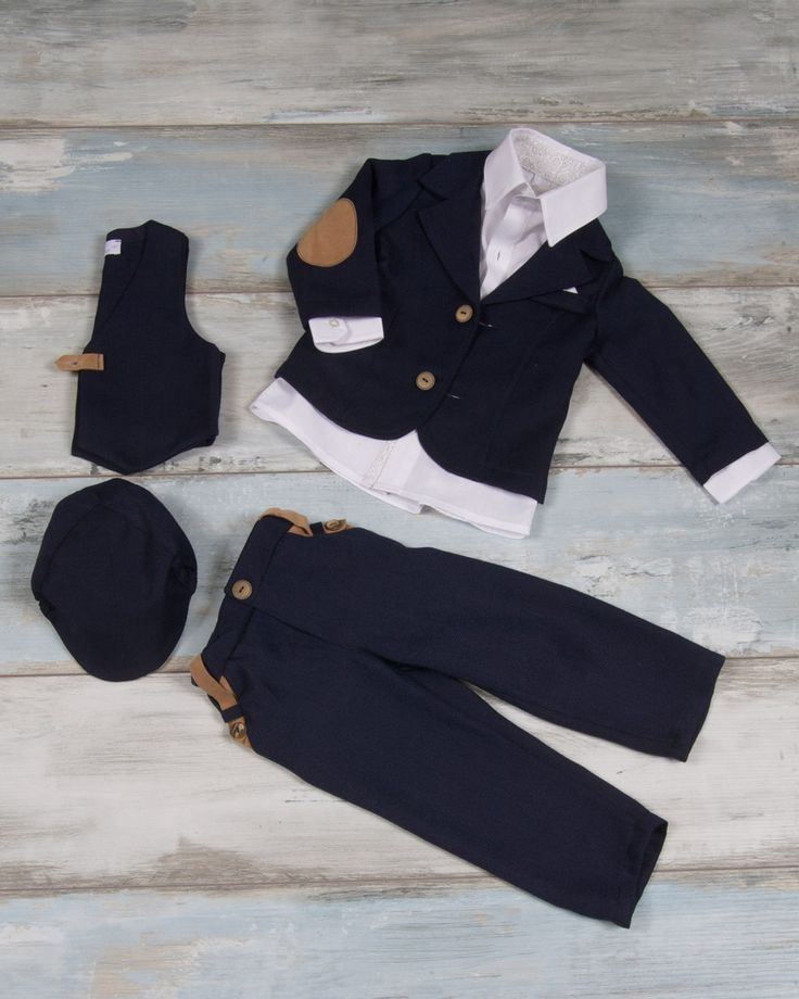 Pants, vest with straw texture and leather details, shirt lahouri oxford style & navy style jacket with leather details and blue matching cap