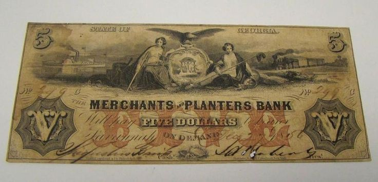 STATE OF GEORGIA 1856 FIVE DOLLARS THE MERCHANTS PLANTERS BANK OBSOLETE CURRENCY