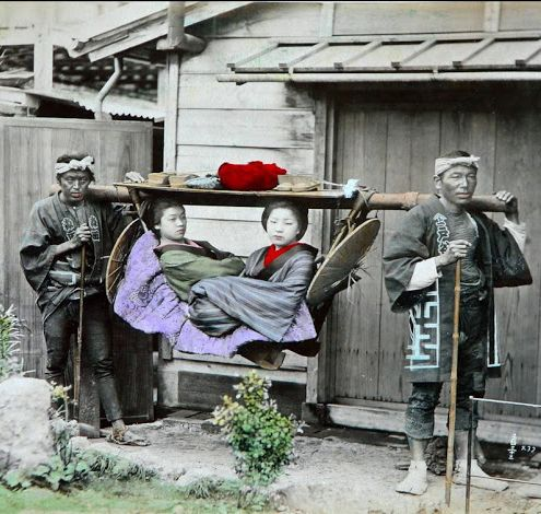 "thekimonogallery:  ""Taxi"" in 1886 Japan.  Photography by Adolpho..."