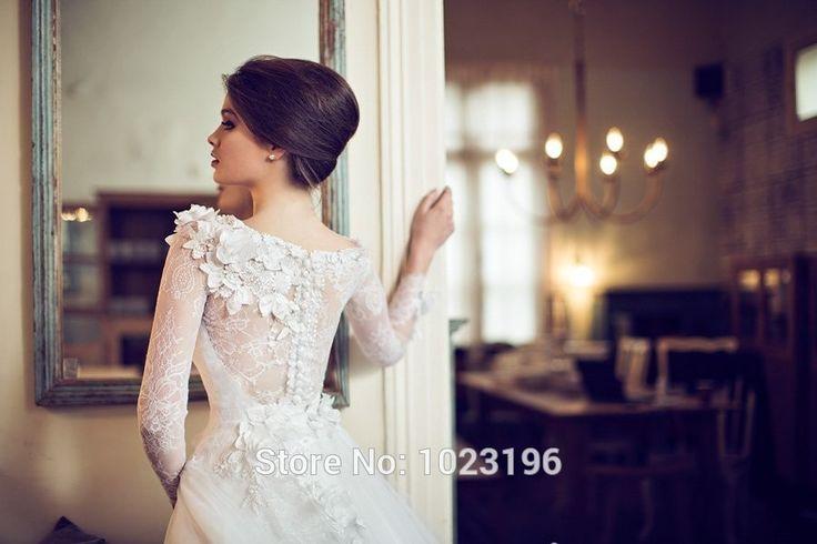 Lace ball gown wedding dresses 2015 romantic scoop neck long sleeve flower VESTIDO DE NOIVA princesa bride dress