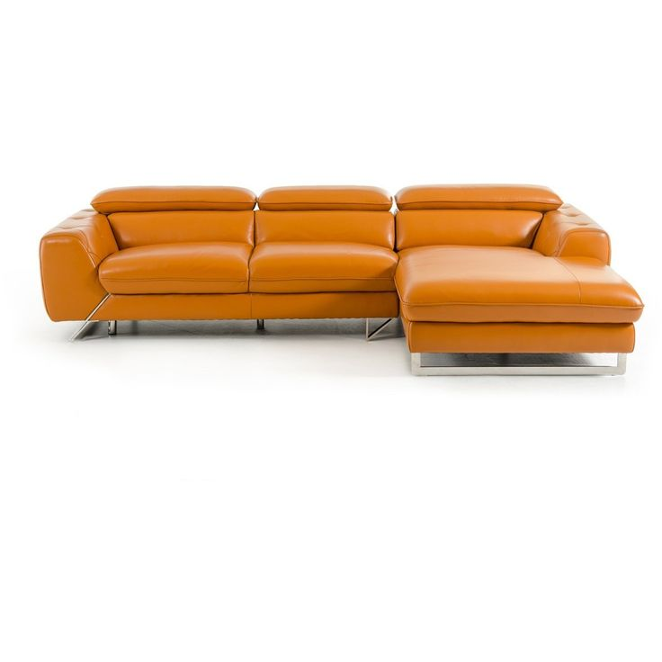 Divani Casa Devon Modern Orange Leather Sectional Sofa