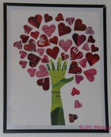 Magazine Tree of Hearts- Valentine's Day art project, Valentine's craft | TeacherTime123