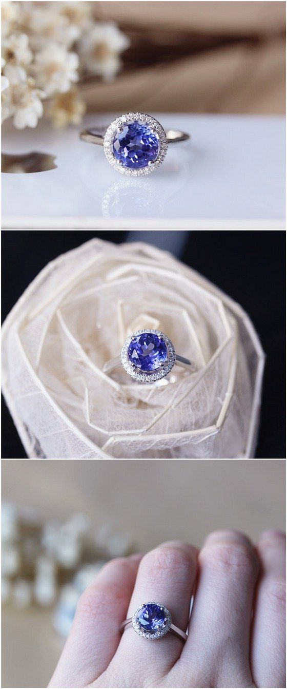 8mm Round Tanzanite Ring Solid 14K White Gold Wedding Ring / http://www.deerpearlflowers.com/engagement-rings-from-etsy/2/