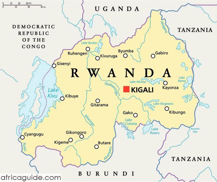 Rwanda map with capital Kigali